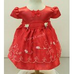 ชุดเสื้อผ้าเด็กเล็กผ้าไหมแก้วสีแดง ไซส์24