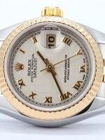 นาฬิกา Rolex DateJust Rose Gold งานเกรด Mirror สายจูบิรี่ หน้าปัดสีขาว ตัวเลขโรมัน