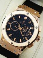 นาฬิกา Hublot หน้าปัดสีดำ ตัวเรือนสี Pink Gold ระบบ Automatic งาน AAA สวยขั้นแทพ หายากระบบจริงทั้งหมด