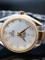 นาฬิกา OMEGA Seamaster Aqua Terra Ladies ห้าปัดฝังเพชร สาย 2 k ใหม่ล่าสุด สวยมากๆ