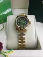 นาฬิกา Rolex DateJust Lady งานเกรด Mirror สายจูบิรี่ หน้าปัดสีเขียวดำ ฝังเพชร สายเลสทอง รุ่นดังหรู มีระดับ