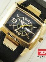 นาฬิกา Diesel Bugout หน้าปัดดำขอบทอง สายหนังแท้ งานเกรด Mirror เทห์สุดๆ