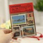 (4 แผ่น/ชุด) แสตมป์สติ๊กเกอร์ Traveler's Notebook Stamp Sticker Set #1 (ใช้ตกแต่ง ไม่สามารถใช้แทนค่าฝากส่ง)