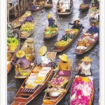 โปสการ์ด ตลาดน้ำดำเนินสะดวก จังหวัดราชบุรี /วิถีชาวบ้าน/วิถีไทย/ชีวิตประจำวัน/อาชีพ/แม่ค้าขายของ