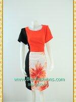 1782ชุดเดรสทำงาน เสื้อผ้าคนอ้วน โมเดิร์นสไตล์ส้มตัดดำพรางด้านข้างลายดอกกราฟฟิคคอกลม แขนปิดไหล่
