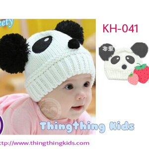 หมวกเด็กชายสีขาวลายหมีแพนด้า