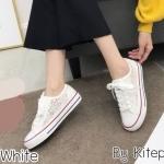 รองเท้าผ้าใบแฟชั่น แต่งลูกไม้สวยหวาน ทรงสวย วัสดุอย่างดี ใส่สบาย แมทสวยเท่ห์ได้ทุกชุด (GT1)
