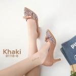 รองเท้าคัทชู ส้นสูง แต่งกลิสเตอร์เพชรด้านหน้าสวยหรู หนังนิ่ม ทรงสวย lสูงประมาณ 2.5 นิ้ว ใส่สบาย แมทสวยได้ทุกชุด (B1118-8)