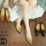 รองเท้าคัทชู ส้นแบน แต่งมุกและอะไหล่ผึ้งทองสวยหรูสไตล์กุชชี่ ทรงสวย หนังนิ่ม ใส่สบาย แมทสวยได้ทุกชุด (555-6)