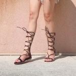 รองเท้าแตะแฟชั่น สไตล์แกลดิเอเตอร์ เชือกหนังสานไขว้พันขาทรงสวยเท่ห์ ซิปหลังใส่ง่าย ใส่สบาย แมทสวยได้ทุกชุด (DD36)