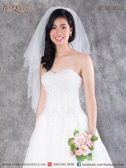 เช่าชุดแต่งงาน &#x2665 ชุดแต่งงาน ชุดชุดเจ้าสาว เกาะอกแต่งลูกปัดคริสตัลเล็กๆ เกล็ดหิมะ