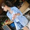 เสื้อตัวบน/นอก ผ้าฝ้าย พิมพ์ลายตาราง กระดุมหน้า สีฟ้า