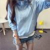 เสื้อคลุม แขนยาวผ้าร่ม มีฮูด ซิปหน้า สีฟ้า (มีภาพจริง)