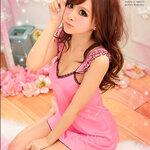 sAN220 ชุดนอนน่ารัก วาบหวิว สีชมพู ที่บ่าระบายกุ้นดำ เป็นชั้นๆน่ารัก เซ็กซี่วาบหวิวแบบสดใส
