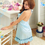 SAN346 ชุดนอนน่ารัก ชุดนอนเกาหลี ชุดนอนสีฟ้า ระบายที่อก สวยหวานสดใส