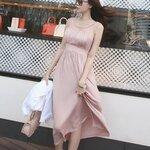 เดรส ผ้า Cotton + Spandex ตัดต่อผ้าตาข่ายช่วงอก สม็อคเอว สีชมพู