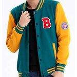รุ่นพิเศษ!! เสื้อแจ็คเก็ต เบสบอล โลโก้ B  No.36 38 40 42 สีชมพูเขียว ฟ้าเหลือง เขียวเหลือง