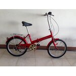 จักรยานมือสองญี่ปุ่นพับได้ เฟรมเหล็ก วงล้อ 20 มี 6 เกียร์ สีแดง