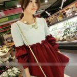 MS209 เสื้อคลุมท้องแฟชั่นเกาหลี โทนสีขาวช่วงบน ช่วงล่างสีแดงเหลืองหมู แขนยาว สีขาวสลับแดงเลือดหมู เนื้อผ้าดีมากๆ