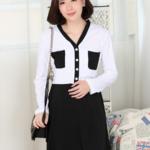 k4029 เสื้อเดรสคลุมท้องแฟชั่น โทนสีขาวดำ เดรสแขนยาว มีประดับกระเป๋าเสื้อสองด้าน เนื้อผ้ายืดนิ่ม