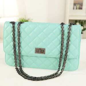 กระเป๋าแฟชั่นเกาหลี หนัง Pu แบรนด์ axixi สีฟ้าลายตารางเฉียง (รับประกันของแท้เหมือนแบบ 100%)