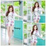 Floral Top+Pants Set Size M : เซทเสื้อกางเกงลายดอกไม้ ขนาด M