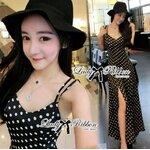 Lady Nikki Chilling Basic Polka Dot Maxi Dress Size M : เดรสยาวสายเดี่ยวพิมพ์ลายจุด ขนาด M