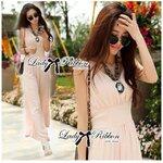 Lady Erin Sweet Classy Embellished Jumpsuit จั๊มสูทขายาวประดับคริสตัล สีโอลด์โรส