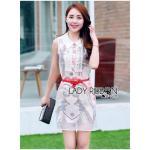 [พร้อมส่ง] เสื้อผ้าแฟชั่นเกาหลี Lady Ribbon's Made เชิ้ตเดรสแขนกุดผ้าออร์แกนซ่าพิมพ์ลายประดับผ้าลูกไม้