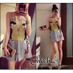 Valentino Girly Chic Printed Mini Dress มินิเดรสพิมพ์ลายกราฟฟิคสีเหลืองต่อลายซิกแซก