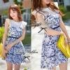 Blue Flora Mini dress Size L : มินิเดรสพิมพ์ลายดอกไม้สีน้ำเงิน-ขาว ขนาด L