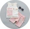 ชุดเซตเสื้อลายตัวหนังสือ+กางเกงสีชมพู 150*4