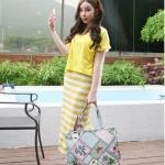 [Pre-Order] เดรสยาว ผ้า Cotton พิมพ์ลายทาง พร้อมเสื้อตัวนอก ผ้า Cotton+Spandex ตัดต่อผ้าชีฟองด้านหลัง สีเหลือง