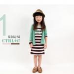 ชุดเดรสลาย CTRL+C คอเสื้อสีเขียว (ไม่มีเสื้อคลุม)