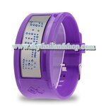 นาฬิกาแฟชั่น LED Mirror Blue LED Watch with Advertise Display / Silicon Watchband (Purple)