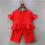 เสื้อ+กางเกง สีแดง แพ็ค 5ชุด ไซส์ 7-9-11-13-15