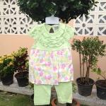 ชุดเซ็ตลายดอกไม้สีเขียว