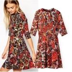 [Preorder] เดรสแฟชั่นแขนสามส่วนกระโปรงบาน ลายดอกไม้สีสดใส (ไซส์ XS S M L) Cotton Village 2014 autumn new women in Europe and America Fan fifth sleeve print dress neckline beaded skirts women