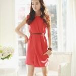 GY3090 elegant silk dress with belt
