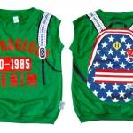 Size S (110) 3-4 ขวบ เสื้อผ้าเด็ก แบบเสื้อแขนกุด ใส่สบาย สกรีนลายเป้ สีเขียว
