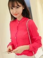 เสื้อคอจีนสวยเท่ห์ สีชมพูเข้ม
