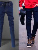 กางเกงยีนส์แฟชั่นสีน้ำเงิน (พร้อมส่งไซส์ 32 )