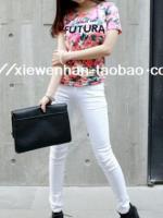 กางเกงยีนส์สีขาวแฟชั่น
