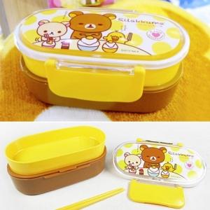 กล่องข้าว 2ชั้น ลายหมี ริลัคคุมะ พร้อมตะเกียบ