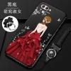 (025-945)เคสมือถือ Case Huawei Nova 2s เคสนิ่มซิลิโคนลายการ์ตูนผู้หญิงขอบเพชรหรูหรา พร้อมแหวนมือถือดอกไม้และสายคล้องคอถอดแยกได้