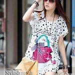 เสื้อผ้าแฟชั่นสไตส์เกาหลี แซกเสื้อตัวยาวสีขาว ลายกระเป๋าสีชมพู   +พร้อมส่ง+