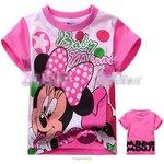 [Preorder] เสื้อยืดเด็กแฟชั่นคอกลมแขนสั้น ลาย Minnie Mouse สีขาวชมพู (6 ตัว/แพ็ค) LVA8139 Rose cotton short-sleeved Japanese single cartoon rose red Flamini printed cotton short-sleeved