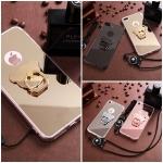 (025-975)เคสมือถือไอโฟน Case iPhone 7 Plus/8 Plus เคสขอบนิ่มพื้นหลังแววกึ่งกระจก พร้อมแหวนมือถือรูปหมีและสายคล้องคอถอดแยกสายได้