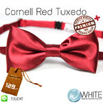 Cornell Red Tuxedo - หูกระต่าย สีแดงเข้ม เนื้อผ้าผิวมัน เรียบ เกรต A (BT037A) by WhiteMKT