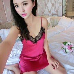 Rose Sexy V Satin Dress ชุดนอนเซ็กซี่สายเดี่ยวผ้าซาตินสีชมพูกุหลาบคอวีแต่งลูกไม้สีดำ